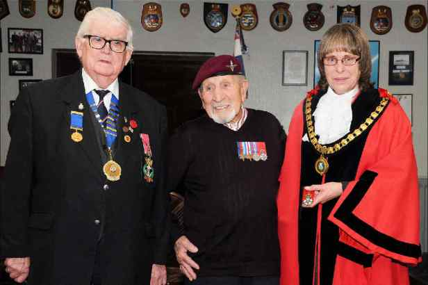 RNA Ferndown and District Chairman Mick Arnold MBE with Alfred Guenigault and the Mayor of Ferndown, Mrs Julie Robinson